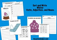 Sort and Write Winter Verbs, Adjective, and Nouns! A great way to work on grammar, seasonal vocabulary, and creative writing by theautismhelper.com.