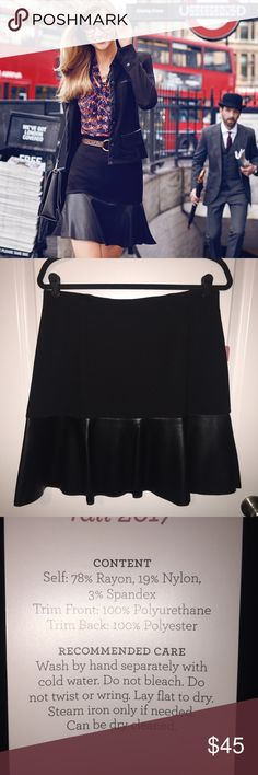 Flip Skirt Black ponte twill skirt with faux leather hem & wide elastic waistband. CAbi Skirts Mini