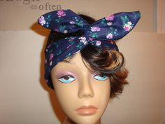 Dolly bow Wired headband tie pinup hair bow by orangemonkeydreams