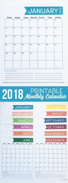 This is the cutest 2018 free monthly calendar I have seen yet. Love it!