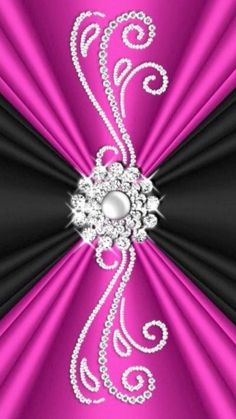Pink and black with a silver disegn in the middle Bling Wallpaper, Flower Wallpaper, Flower Backgrounds, Wallpaper Backgrounds, Pink Love, Pretty In Pink, Hot Pink, Cellphone Wallpaper, Iphone Wallpaper