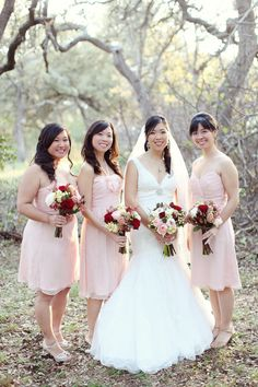 Bridesmaids are in this color dress. Love these bouquets with them just a bit less with the yellow