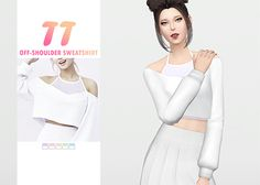 "waekey:  "" TT Off-Shoulder Sweatshirt  • New mesh / EA mesh edit  • Category: top (women)  • Age: teen / young adult / adult / elder  • 5 swatches  • Suggested by anonymous  Download: SimFileShare 