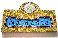 Namaste'. Regardless of the language you speak, this one word simply invokes a sense of sharing, a spiritual connection and creates a sense of oneness. We bring our hands together at the heart chakra to increase the flow of Divine love when saying this magical word.  Measuring 12 inches x 7-1/2...