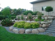 Boulder Retaining wall tiered w/ stairs - www. - Boulder Retaining wall tiered w/ stairs – www. Landscaping With Boulders, Landscaping A Slope, Landscaping Retaining Walls, River Rock Landscaping, Boulder Retaining Wall, Garden Retaining Wall, Sloped Garden, Rock Wall Landscape, Landscape Design