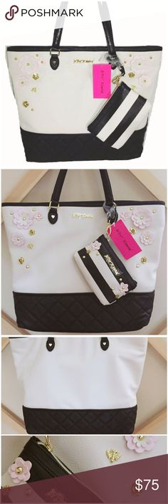 """Betsey Johnson Floral Be Mine Tote w/ Wristlet Betsey Johnson 2 in 1 Be Mine Tote w/ Striped Wristlet ---  Faux leather cut out flowers in shades of bone, light pink --- gold tone flower, honey bee, hearts, and studs --- black quilted base --- bone and black color --- measurements are 14x13x5.5"""" ---  handles with 8"""" straps --- Interior has one zipper compartment and two slip pockets --- wristlet is 4x6"""" with top zipper closure --- faux leather ----  please Betsey Johnson Bags Totes"""