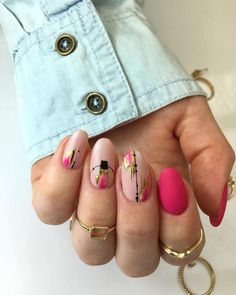 140 flowers nails design trends for spring – page 1 Hot Nails, Pink Nails, Hair And Nails, Pink Nail Art, Minimalist Nails, Fabulous Nails, Gorgeous Nails, Pretty Nail Art, Dream Nails