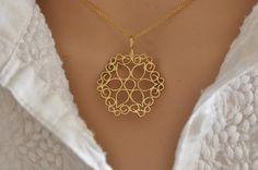 14k Gold Flower  Filigree pendant  14K Gold by malkaravinajewelry
