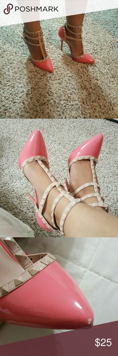 "Pink Caged Stud Pointe Heels I have a very cute pair of pink heels. Looks like the Valentino rockstuds. Pink with beige. Only worn once! Very good condition.  Fits true to size.  One shoe has a small chip on the front. Heel height 4.5"" Wild Diva Shoes Heels"