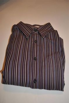 Men Geoffrey Beene Striped Maroon Purple Gray Dress Shirt Long Sleeve Large | eBay
