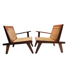 Anonymous; Cedar and Palm Fiber Lounge Chairs, 1950s. (I've seen similar chairs attributed to Clara Porset.)