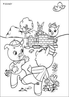 Discover this amazing coloring page of three little pigs movie. Here Edmund building his Bricks House. A drawing for all Disney movies lover. House Colouring Pages, Alphabet Coloring Pages, Cartoon Coloring Pages, Disney Coloring Pages, Animal Coloring Pages, Coloring Pages To Print, Free Coloring, Coloring Pages For Kids, Coloring Books