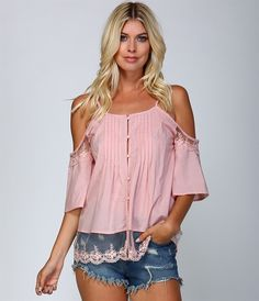 Pink Off Shoulder Lace Button Shirt