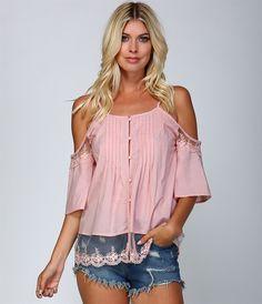 Pink Off Shoulder Lace Button Shirt