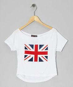 Look at this #zulilyfind! White Union Jack Dolman Tee by Rated G #zulilyfinds 17.00