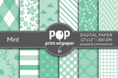 Check out Mint Digital Paper - JPG by POP print on paper on Creative Market