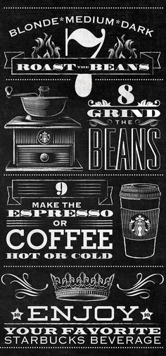 Starbucks Bean to Beverage Typographic Mural by Jaymie McAmmond-letter, font, typography Chalkboard Lettering, Typography Letters, Graphic Design Typography, Coffee Chalkboard, Coffee Typography, Kitchen Chalkboard, Vintage Chalkboard, Coffee Art, I Love Coffee