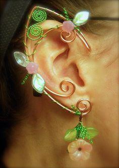 Garden inspired Spring Elf Ear Wraps by jhammerberg on deviantART Elf Ear Cuff, Ear Cuffs, Ear Cuff Tutorial, Elfen Fantasy, Elf Ears, Fairy Jewelry, Ear Wraps, Wire Earrings, Beads And Wire