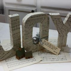 Sheet Music Covered JOY Letters {Christmas Music} Here is a clever way to use sheet music to make beautiful piece of holiday decor! Christmas Music, Christmas Love, Christmas Crafts For Kids, Christmas Projects, All Things Christmas, Winter Christmas, Holiday Crafts, Christmas Decorations, Holiday Ideas