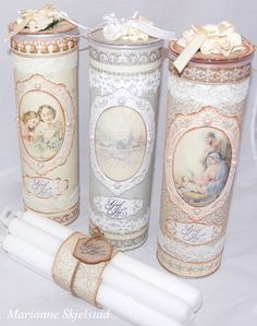 pringles cans - Not pages but shabby chic type of thing Shabby Chic Crafts, Vintage Crafts, Vintage Paper, Tin Can Crafts, Arts And Crafts, Paper Crafts, Altered Tins, Altered Bottles, Manualidades Shabby Chic
