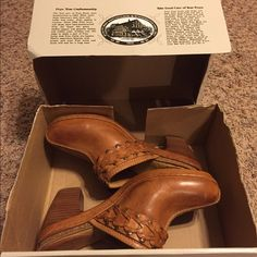 Frye Candice Woven Clog Somebody's lucky day! Look what I found - brand new sitting in box Frye shoes!  Bought on sale but never wore them-crazy I know. I think they speak for themselves. Let me know if you have questions though. What a steal of a deal.. Frye Shoes Mules & Clogs