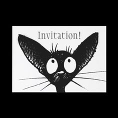 Black Cat invitation by StrangeStore by Paul Stickland #cats #party #invitations