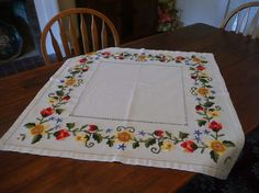 Nice Vintage HAND Embroidered Tablecloth With Red by MossyCottage, $28.00