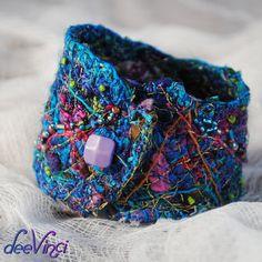 Fiber art cuff bracelet beaded by deeVinci on Etsy,