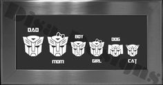 Your choice of 5 Transformer Autobot inspired Family decals / Please READ description for ordering instructions - Car decal - Family decal. $8.00, via Etsy.