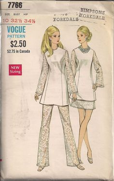 Vintage 70s UNCUT Sewing Pattern Vogue Tunic Top, Skirt and Pants by HoneymoonBus, $9.99
