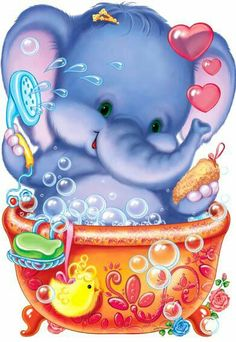Rub a dub dub - Baby elephant in a tub! Cartoon Elephant, Elephant Love, Elephant Art, Cute Images, Cute Pictures, Animal Drawings, Cute Drawings, Cartoon Mignon, Baby Quilts