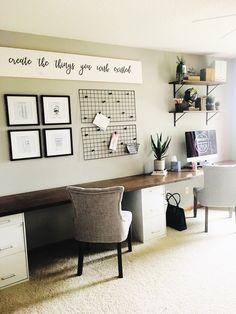 Business Office Decor, Diy Office Desk, Guest Room Office, Home Office Space, Home Office Desks, Desk Space, Diy Desk, Diy Wood Desk, Home Office Cabinets