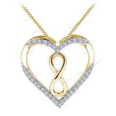 925 Sterling Silver Infinity Knot Round Cut Diamond Heart Pendant Free Pouch…