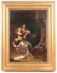 Manner of Jan Steen, Figural Oil on Wood Panel : Lot 736. Hammer Price: $600