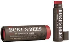 Burt's bees lip balm with bee wax and natural pigments to add color. Love