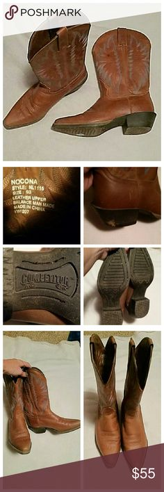 Nocona tan leather cowboy boots Nocona boots are artfully crafted. Gorgeous genuine leather boots in excellent condition except for one small spot on the leather part and a small worn area on the heel which I've shown in the one picture. Other than that these are awesome. Has beautiful stitching design embroidered on them. Strups on the upper leg part. I have priced them to sell. These are a high quality piece of art. Shoes Heeled Boots