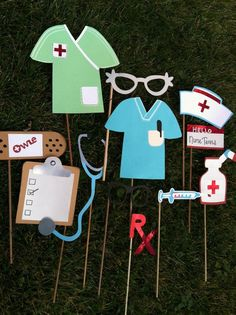 themed photography props | Photo booth props: nurses themed. $23.50, via Etsy.