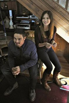Jay Ryan and Kristin Kreuk on the set of Beauty and the Beast season two