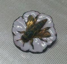 Victorian Sewing Button White Enamel Fly Stamped Brass Insect
