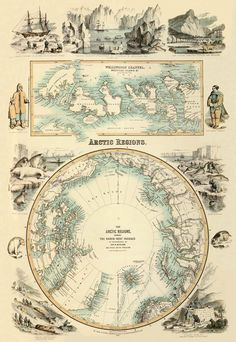 "Marvelous antique Arctic Regions  map PRINT - 22 x 32 "". $43.00, via Etsy."
