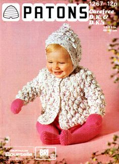 Vintage 1976 Patons Baby Knitting Pattern for Hooded Bobble Pram Coat to Knit for sale online Knitting Wool, Vintage Knitting, Double Knitting, Baby Knitting Patterns, Baby Patterns, Crochet Patterns, Pram Sets, Baby Coat, Moss Stitch