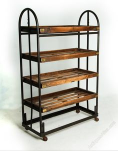 This original factory shoe rack, has been sympathetically restored, and is now a fabulous display or storage unit, suitable for either home or retail use. Industrial Shelving, Vintage Industrial, Industrial Style, Retail Shelving, Storage Shelves, Conservatory Furniture, 1940s Home, Shelving Systems, Wooden Shelves