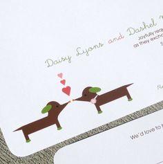 Modern Puppy Love Wedding Invitation- Daisy Daschund Sample set. $5.00, via Etsy.