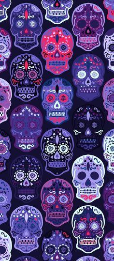Wallpapers Geek, Wallpaper Backgrounds, Aesthetic Wallpapers, Iphone Backgrounds, Halloween Wallpaper Iphone, Halloween Backgrounds, Caveira Mexicana Tattoo, Sugar Skull Wallpaper, Sugar Skull Art
