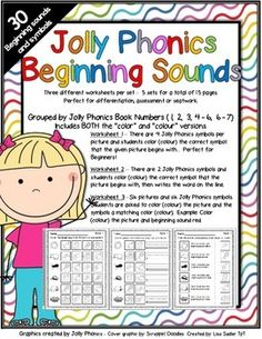 "Jolly Phonics Beginning Sound Worksheets. This packet focuses on 30 beginning sounds/symbols. There are three different worksheets per set. There are 5 sets for a total of 15 pages. Perfect for differentiation, assessment or seat work. Available with the word ""color"" and ""colour""."