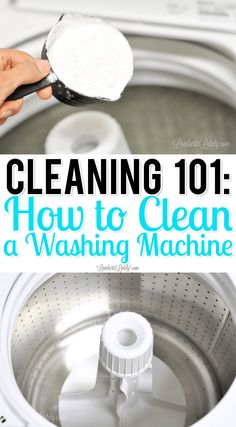 This tutorial uses non-toxic ingredients (like vinegar and baking soda) to naturally clean the drum of a top loader washing machine with ease! Great way to DIY the washer cleaning process. Diy Home Cleaning, Household Cleaning Tips, Cleaning Recipes, Cleaning Hacks, Spring Cleaning, Cleaning Checklist, Car Cleaning, Deep Cleaning