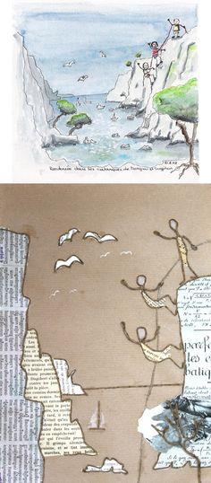 Mise en scène faite de découpes de papier cernées de fil de kraft armé - création Epistyle