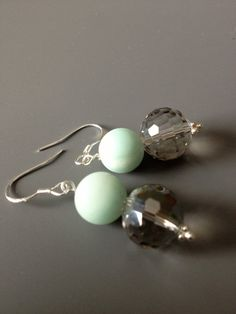 Frosted Mint Green and Crystal Earrings   $15.00 CAD by LittleGemsByLuisa on Etsy