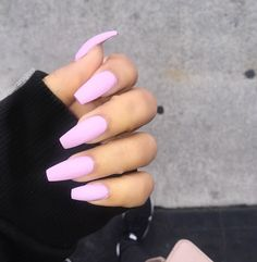 Baby Pink Matte | Most Popular Coffin Nail Designs To Try Yourself | Coffin Nails