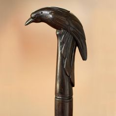 Wood walking stick, 'The Raven'